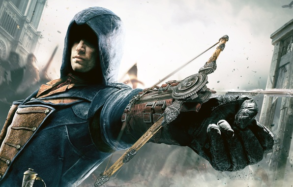 Picture the sky, the building, hand, hood, killer, people, Ubisoft, crossbow, Assassin, Arno, Assassin's Creed: Unity