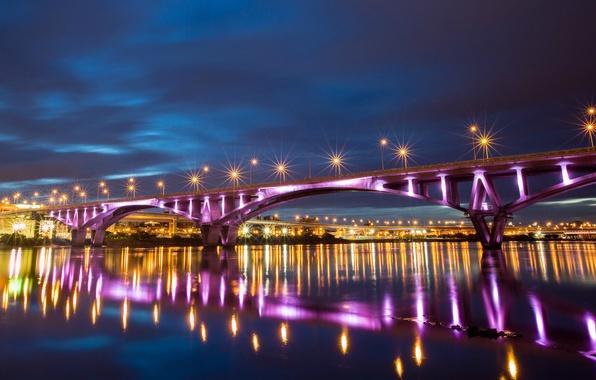 Picture night, bridge, city, lights, lights, reflection, river, China, backlight, China, Taiwan, river, bridge, night, Taipei, …