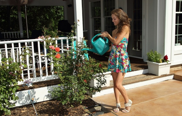 Picture flowers, smile, house, Girl, dress, legs, Malena Morgan