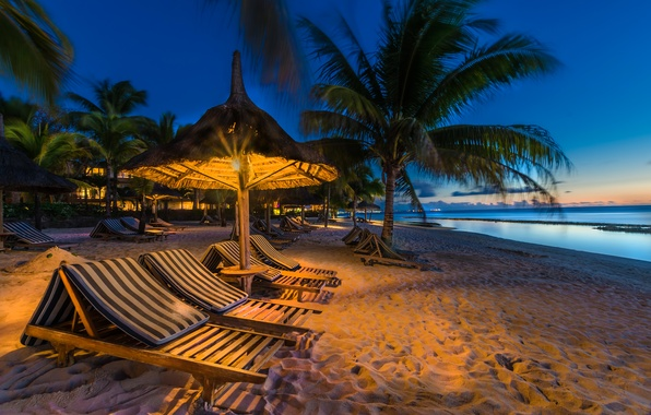 Picture sand, sea, beach, lights, tropics, palm trees, coast, island, the evening, horizon, sunbeds, sun loungers, ...
