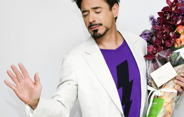 Picture flowers, actor, note, orchids, Robert Downey Jr, actor, note, flowers, orchid, Robert Downey Jr.