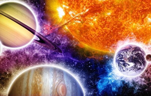 Picture colors, art, sun, planets