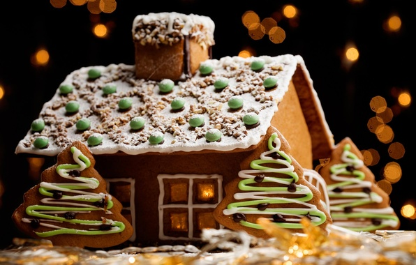 Picture house, holiday, Christmas, New year, decoration, biscuit