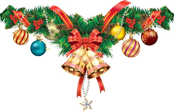 Picture berries, holiday, ball, vector, tape, bow, bump, bell, postcard