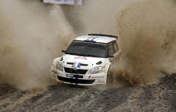 Picture Auto, White, Sport, Machine, Race, Dirt, Puddle, Squirt, WRC, Rally, Rally, Skoda, Fabia, Fabia