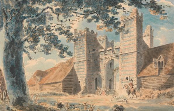 Picture landscape, the city, tree, picture, gate, watercolor, rider, William Turner, Dent-de-lion road, Margaret
