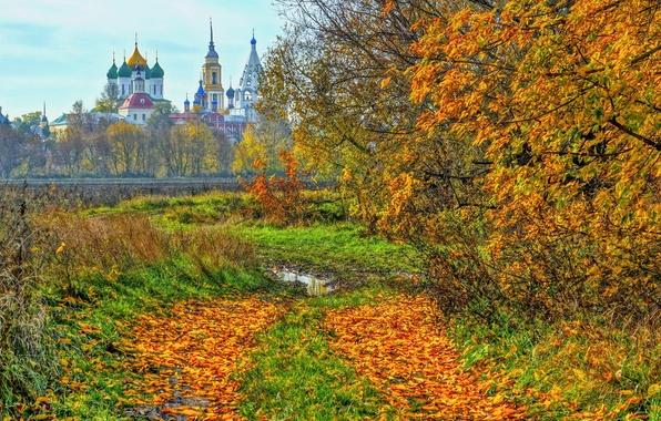 Picture autumn, temple, Kolomna
