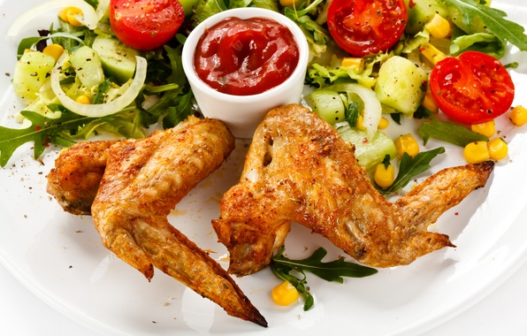 Picture chicken, wings, vegetables, tomatoes, ketchup, cucumbers, salad