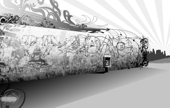 Picture wall, graffiti, black and white, phone