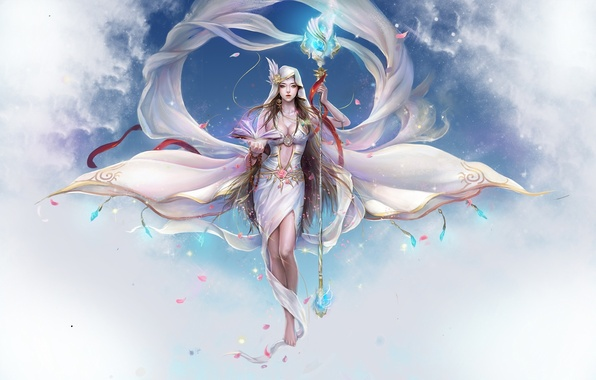 Picture girl, clouds, magic, petals, art, tape, book, crystals, staff, funfan