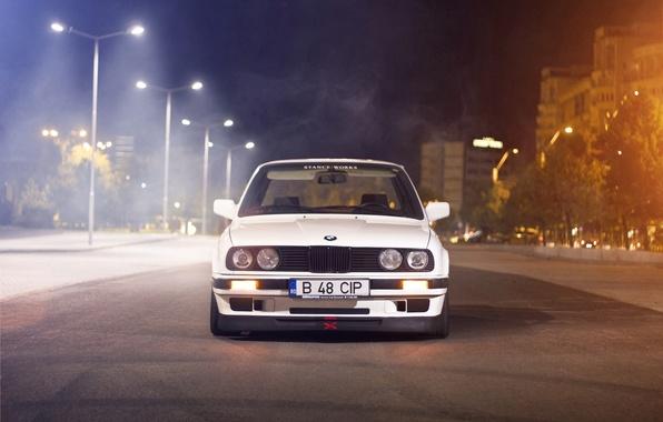 Picture white, night, street, BMW, BMW, white, Blik, E30, Sedan, 3 Series