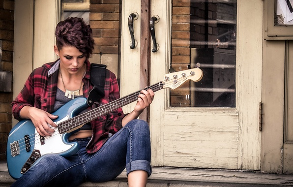 Picture face, music, hair, the game, guitar, Girl, jeans
