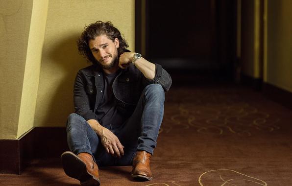 Picture photo, jeans, jacket, actor, sitting, on the floor, photoshoot, Kit Harington, Kit Harington, Paris Match, …