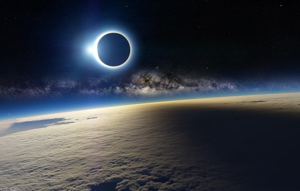 Picture space, planet, satellite, the atmosphere, Eclipse
