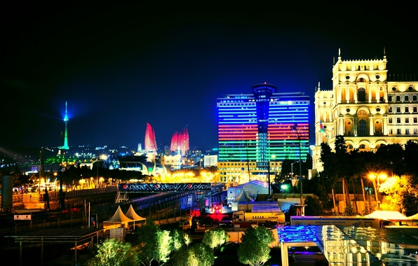 Picture night, lights, light, night, Azerbaijan, Azerbaijan, Baku, Baku