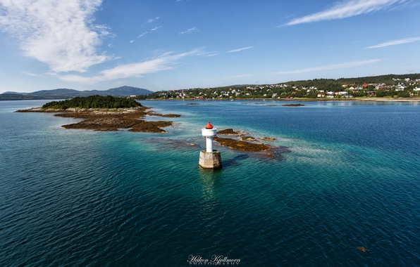Picture sea, nature, shore, lighthouse, village