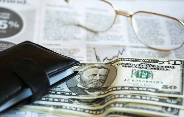 Photo wallpaper dollar, glasses, financial accounting