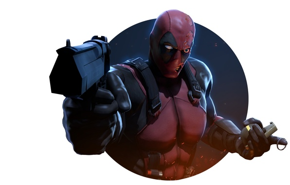 Picture gun, pomegranate, mask, villain, killer, mercenary, deadpool, Marvel Comics, Wade Wilson, Wade Winston Wilson