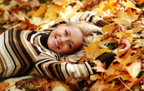 Picture autumn, leaves, girl, smile, yellow, blonde, lies, sweater