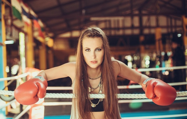 Picture look, girl, Boxing, gloves, the ring