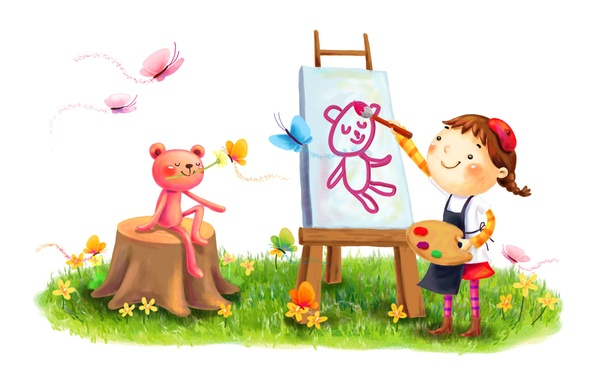 Picture summer, butterfly, flowers, smile, paint, figure, girl, brush, lawn, drawing, animal