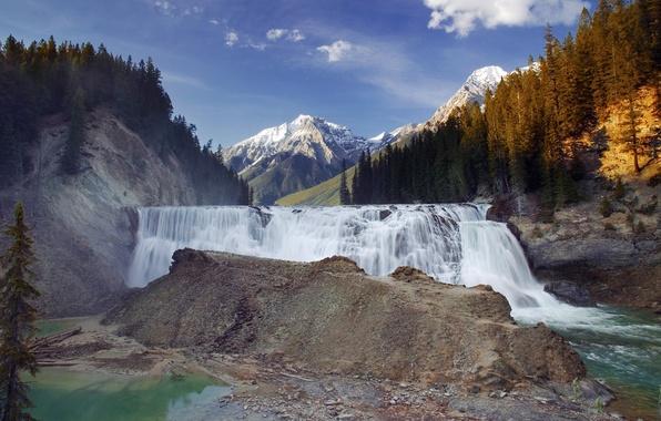 Picture mountains, waterfall, Canada, Canada, British Columbia, Kicking Horse River, Yoho National Park, Wapta Falls