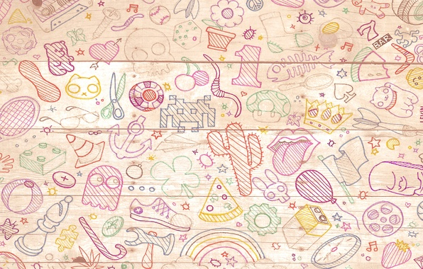 Picture background, drawings, items