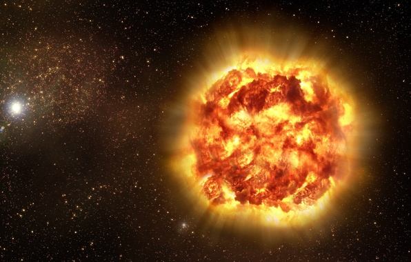 Picture space, rays, the explosion, star