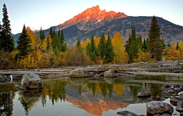 Picture the sky, trees, sunset, mountains, lake, reflection, stones, USA, Wyoming, Grand Teton National Park