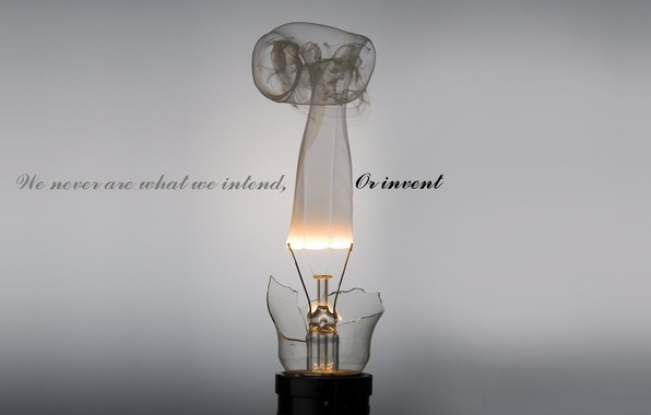 Picture light bulb, grey, background, the inscription, minimalism, we never are what we intend, or invent