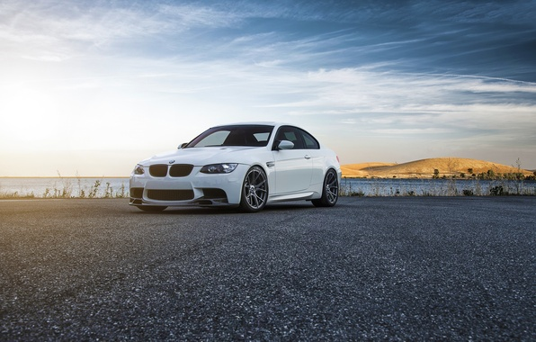 Picture BMW, Car, Front, Vorsteiner, Color, White, Forged, E92, Wheels, Flow