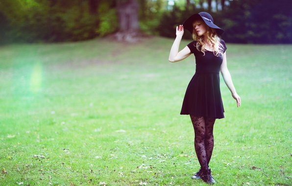 Picture summer, girl, face, hair, hat, dress, legs