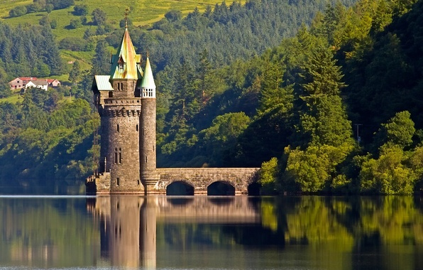 Picture forest, reflection, England, tower, water surface, England, Wales, Wales, Lake Vyrnwy tower, Lake Vyrnwy, lake …