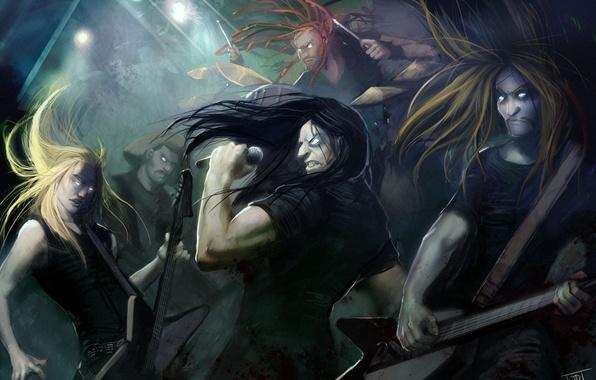 Picture the cartoon series, Dethklok, death metal, Metalocalypse