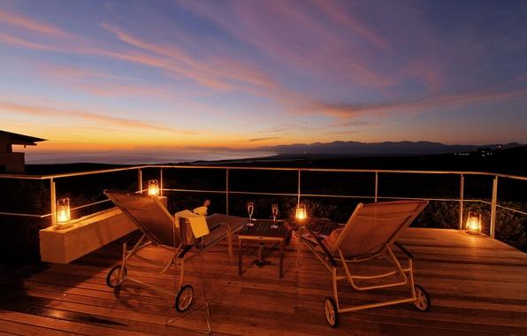 Picture sunset, mood, wine, Villa, the evening, terrace