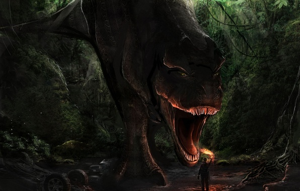Picture forest, fire, danger, people, dinosaur, art, mouth, torch, T-Rex