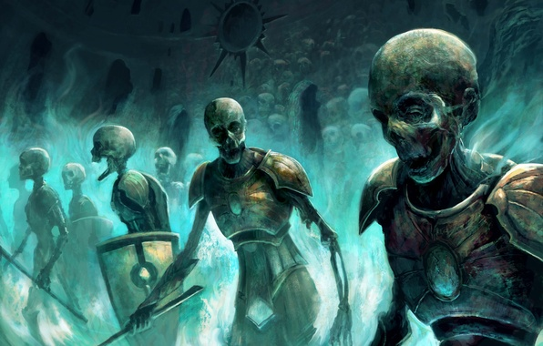 Picture magic, army, art, zombies, skull, skeletons, undead