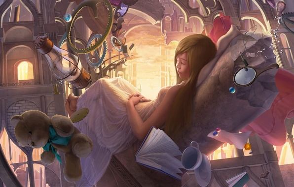 Picture castle, surrealism, toys, lamp, sleep, bear, art, girl, arch, book, beads, reishin, the mirror, spin
