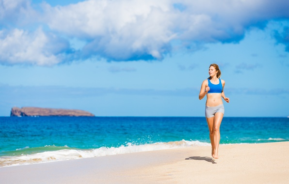 Picture sea, girl, shore, sport, running
