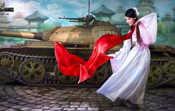 Picture girl, figure, home, area, art, tank, Chinese, Asian, Chinese, average, World of Tanks, Nikita Bolyakov, …