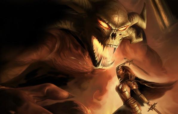 Picture girl, fantasy, the demon, battle