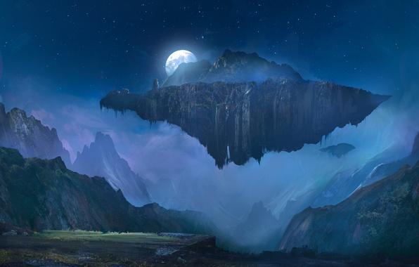 Photo wallpaper mountains, island, flying island, art, the moon, the full moon, night, the sky, stars