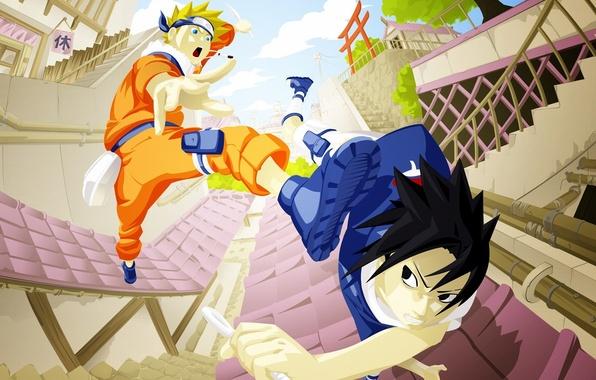 Picture Anime, Naruto, Naruto, art, Uchiha Sasuke, Uchiha Sasuke, Uzumaki Naruto, Uzumaki Naruto