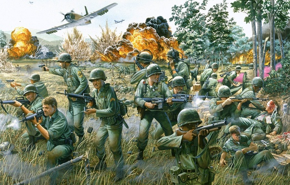 Picture war, figure, explosions, battle, Americans, Vietnam, a-1, Battle in the valley of Ya-Drang