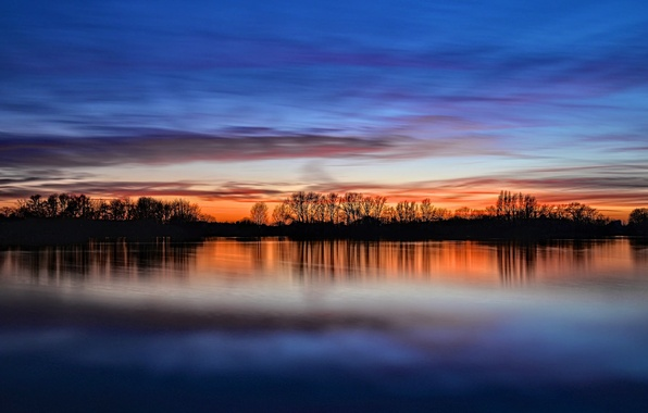 Picture the sky, clouds, trees, sunset, reflection, river, shore, England, the evening, UK, river, sky, trees, …