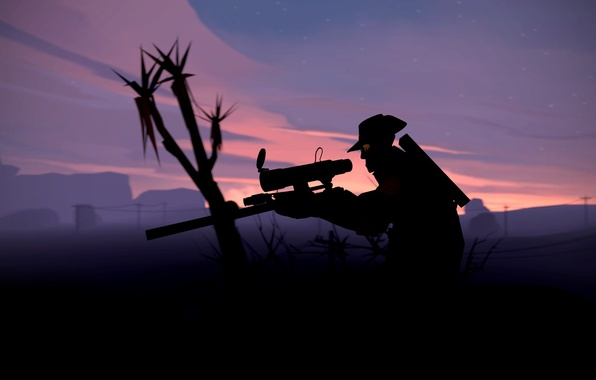 Photo Wallpaper Night Sniper Team Fortress 2 Tf2