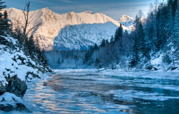 Picture winter, forest, landscape, mountains, nature, river, Alaska