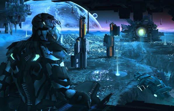 Picture space, people, planet, ships, the suit, art, base