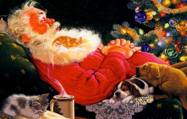 Picture figure, tree, picture, chair, puppies, couples, sleeping, mug, kittens, tree, black background, Santa Claus, Santa …