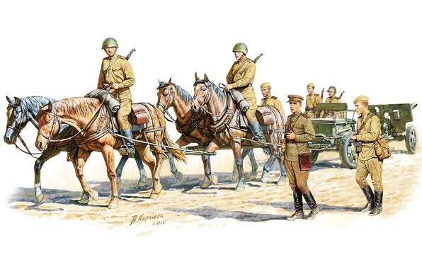 Picture art, artist, soldiers, gun, USSR, WWII, artillery, infantry, WW2., anti-tank, 76 mm, A. Karashchuk, divisional, …